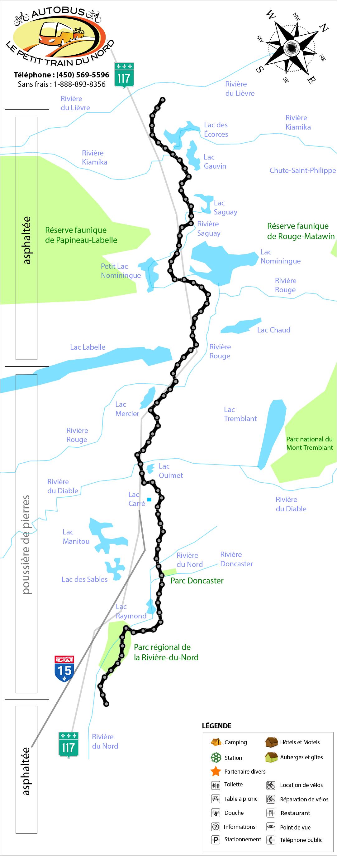 Carte de la piste cyclable Le Petit Train Du Nord Laurentides